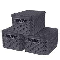 Curver Boîtes de rangement Style avec couvercle 3 pcs S 6 L Anthracite