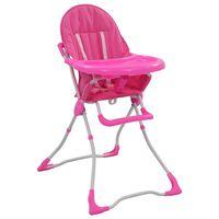 vidaXL Chaise haute pour bébé Rose et blanc