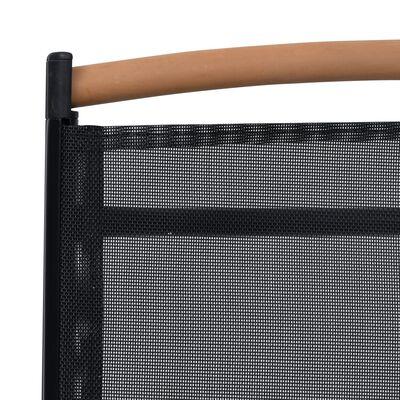 vidaXL 4 pcs Chaises pliables de jardin Aluminium et textilène Noir