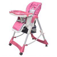 vidaXL Chaise haute pour bébés Deluxe Rose Hauteur réglable