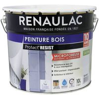 RENAULAC Peinture Bois Blanc - Garantie 10 ans - 10L - 120m2 / pot