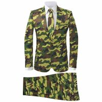 vidaXL Costume 2-pièces avec cravate pour hommes Camouflage Taille 48