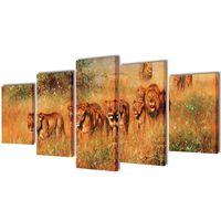 Set de toiles murales imprimées Lions 200 x 100 cm