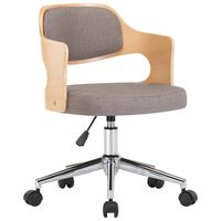 vidaXL Chaise pivotante de bureau Taupe Bois courbé et tissu
