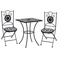 vidaXL Meuble de bistro mosaïque 3pcs Carreaux céramiques Noir/blanc