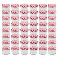 vidaXL 48 pcs Pots à confiture Couvercles blanc et rouge Verre 110 ml