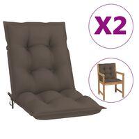 vidaXL Coussins de chaise de jardin 2 pcs Taupe 100x50x7 cm
