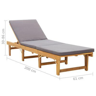 vidaXL Chaise longue pliante avec coussin Bois d'acacia solide
