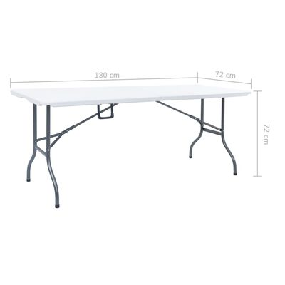 vidaXL Table pliable de jardin Blanc 180x72x72 cm PEHD