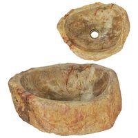 vidaXL Évier 45 x 35 x 15 cm Pierre fossile Crème