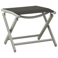 vidaXL Repose-pied pliable Noir et argenté Textilène et aluminium