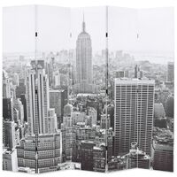vidaXL Cloison de séparation pliable 200x170 cm New York Noir et blanc