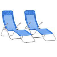 vidaXL Chaises longues pliables 2 pcs Textilène Bleu