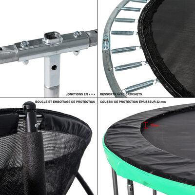 GREADEN Trampoline extérieur vert 305 + Échelle/ancrage