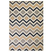 vidaXL Tapis moderne Design de zigzag 120 x 170 cm Marron/Noir/Bleu