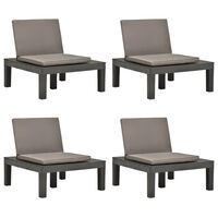 vidaXL Chaises de salon de jardin et coussins 4pc Plastique Anthracite