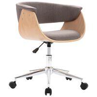 vidaXL Chaise pivotante de salle à manger Taupe Bois courbé et tissu