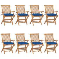 vidaXL Chaises de jardin avec coussins bleu 8 pcs Bois de teck massif