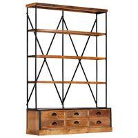 vidaXL Bibliothèque à 4 étagères avec 6 tiroirs 122x36x181 cm Manguier