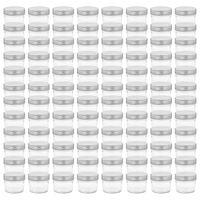 vidaXL Pots à confiture avec couvercles argentés 96 pcs Verre 110 ml