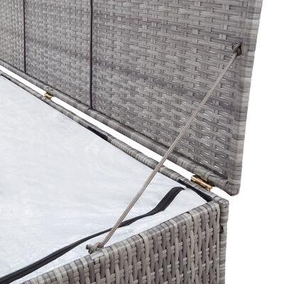 vidaXL Boîte de rangement de jardin Gris 150x50x60 cm Résine tressée