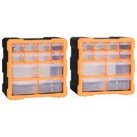 vidaXL Organisateurs multi-tiroirs avec 12 tiroirs 2 pcs 26,5x16x26 cm