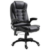 vidaXL Chaise de bureau de massage Noir Similicuir