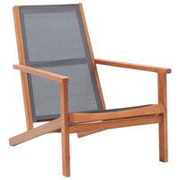vidaXL Chaise de jardin Gris Bois d'eucalyptus solide et textilène
