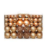 vidaXL Ensemble de boules de Noël 100 pcs 6 cm Rose/Doré
