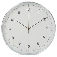 Perel Horloge murale 30 cm Blanc et argenté