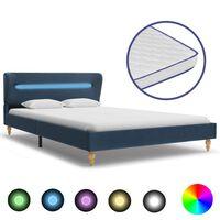 vidaXL Lit LED avec matelas à mémoire de forme Bleu Tissu 140x200 cm
