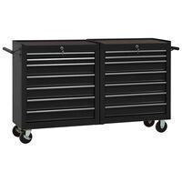 vidaXL Chariot à outils avec 14 tiroirs Acier Noir