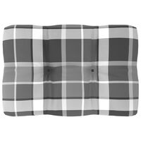 vidaXL Coussin de canapé palette Motif à carreaux gris 60x40x12 cm