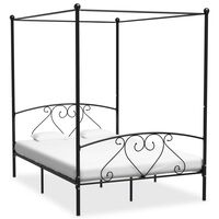 vidaXL Cadre de lit à baldaquin Noir Métal 160 x 200 cm
