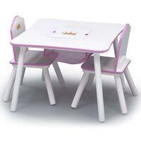 Delta Children Table et chaises enfant avec rangement Blanc et rose