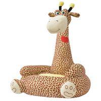 vidaXL Chaise en peluche pour enfants Girafe Marron