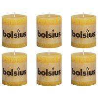 Bolsius Bougies pilier rustiques 6 pcs 80 x 68 mm Jaune ocre
