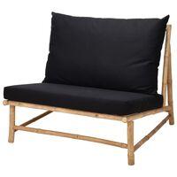 ProGarden Chaise Bambou avec oreiller noir