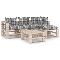 vidaXL Salon de jardin palette 5 pcs avec coussins Bois de pin