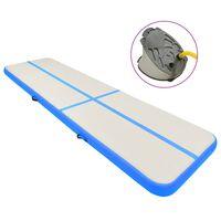 vidaXL Tapis gonflable de gymnastique avec pompe 800x100x15cm PVC Bleu