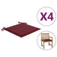 vidaXL Coussins de chaise de jardin 4 pcs Bordeaux 50x50x4 cm Tissu
