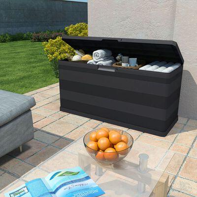 vidaXL Boîte de rangement de jardin Noir 117x45x56 cm