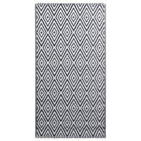 vidaXL Tapis d'extérieur Blanc et noir 120x180 cm PP