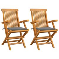 vidaXL Chaises de jardin avec coussins gris 2 pcs Bois de teck massif