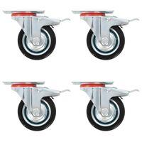 vidaXL Roulettes pivotantes avec double frein 4 pcs 75 mm