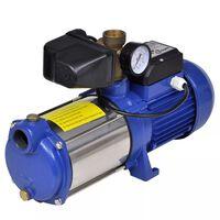 Pompe à eau de surface bleue avec manomètre 1 300 W 5 100 l/h