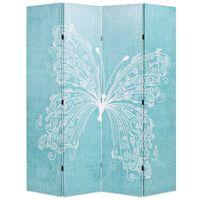 vidaXL Cloison de séparation pliable 160 x 170 cm Papillon Bleu