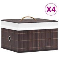 vidaXL Boîtes de rangement en bambou 4 pcs Marron