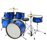 vidaXL Kit de batterie complet Acier enduit de poudre Bleu Junior