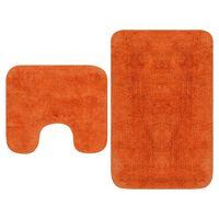 vidaXL Tapis de salle de bain 2 pcs Tissu Orange